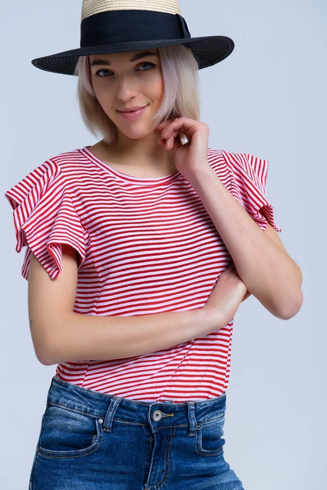 Red stripes short sleeve tee