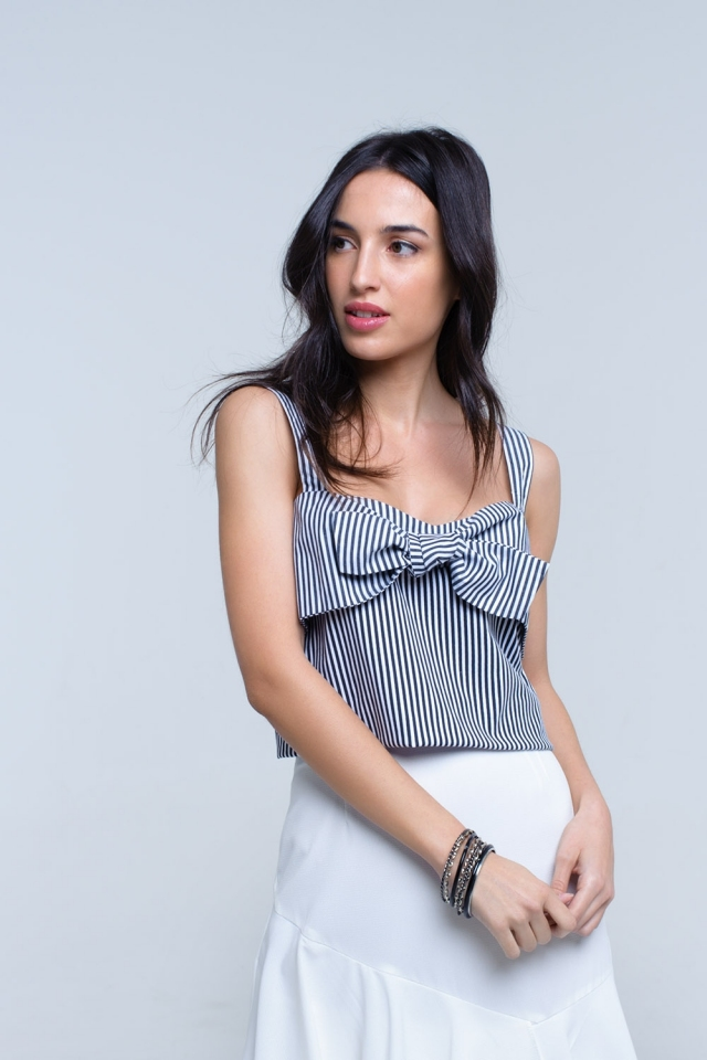 Black striped top with tie front