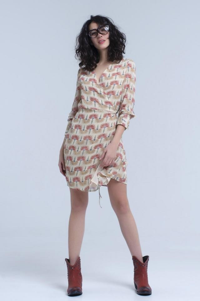 Beige chiffon dress in floral print