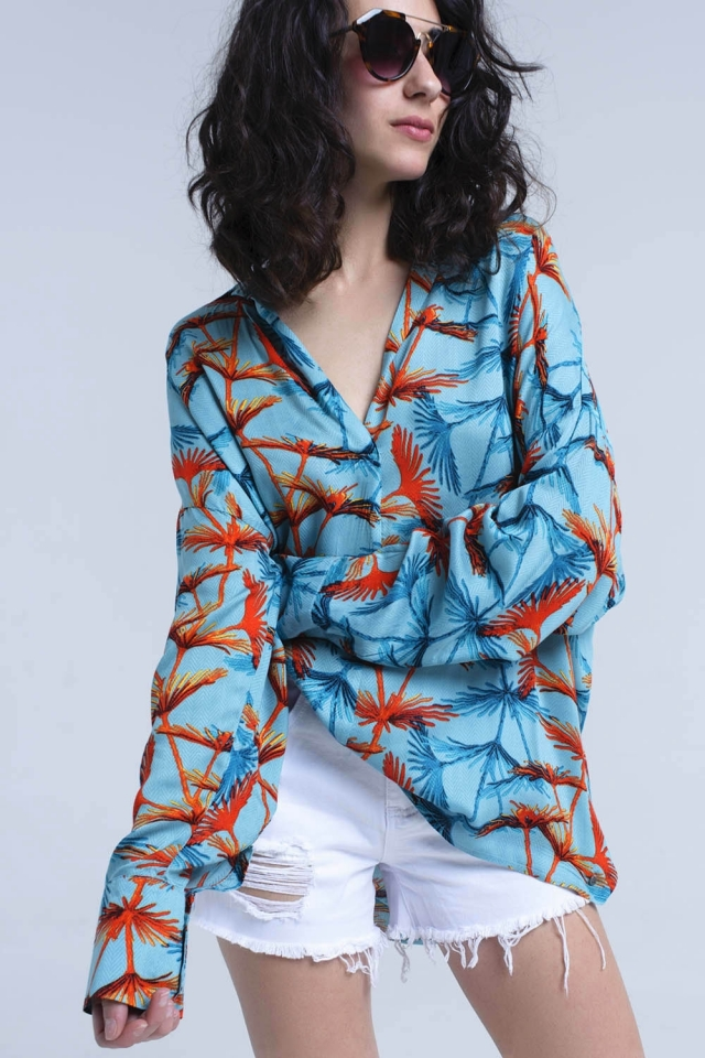 Turquoise oversized printed blouse