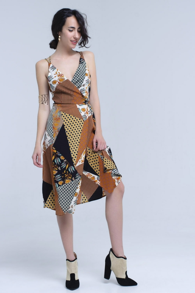 Brown midi dress in patchwork print and cross back