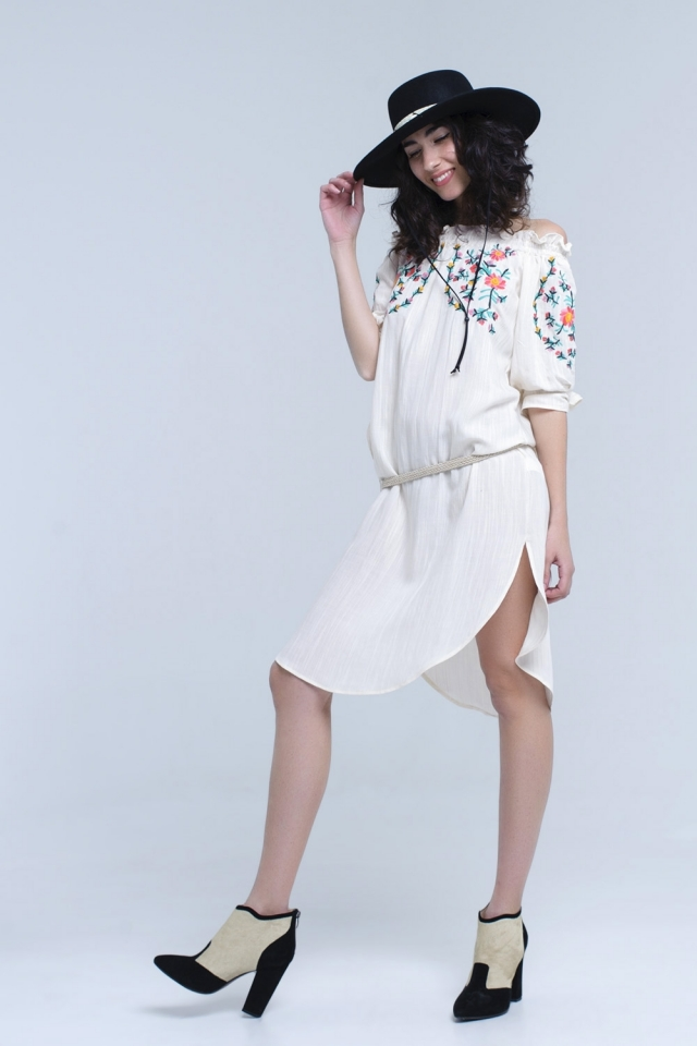 Beige off the shoulder embroidered midi dress