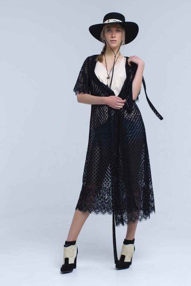 Black longline lace cardigan