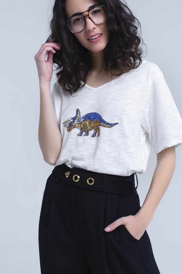 White t-shirt with rhino in sequin