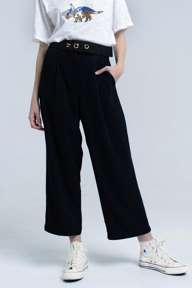 Black ankle pants with belt detail