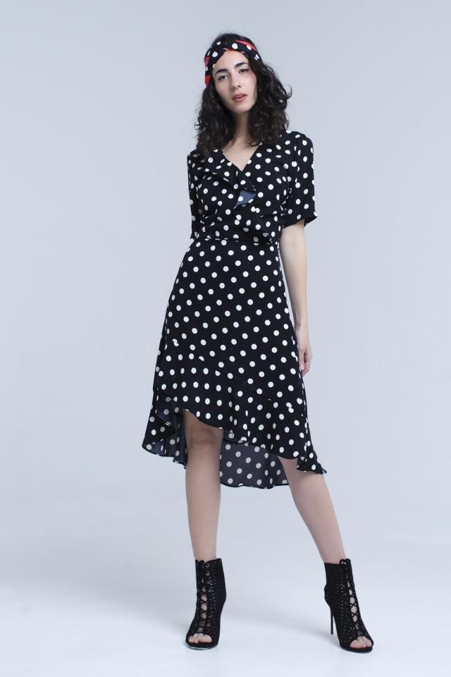 Black polka dot asymmetric dress