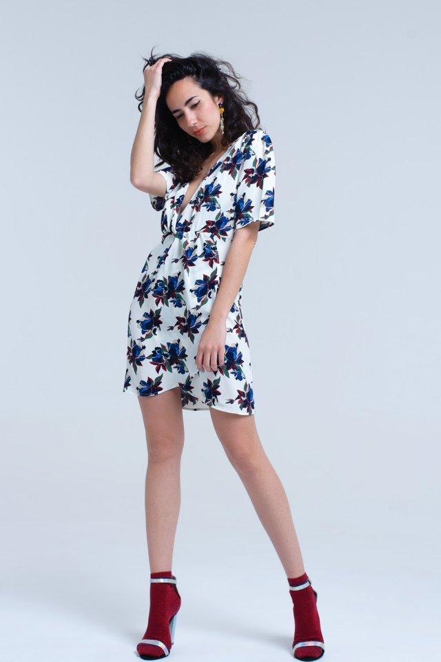 Cream midi dress with ruffle detail in floral print