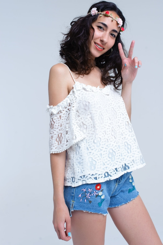 White off the shoulder top in lace