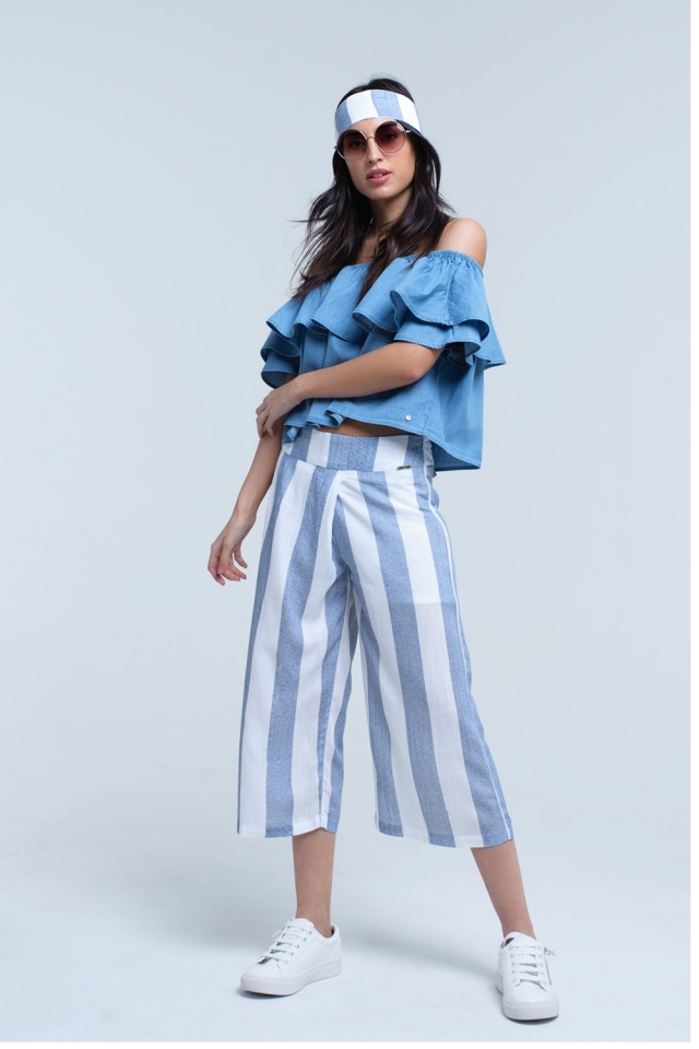 Light blue striped wide leg pants