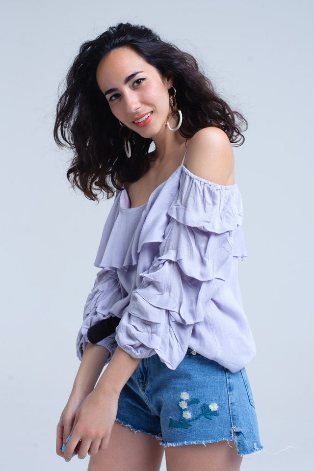 Lilac top with 3/4 ruched sleeve
