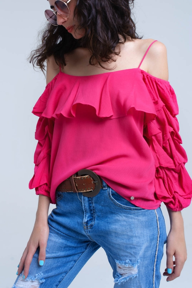 Fuchsia top with 3/4 ruched sleeve