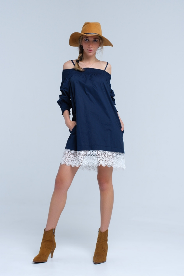 Navy midi dress with lace detail on the hem