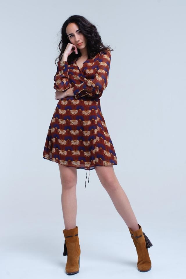Brown chiffon dress in floral print