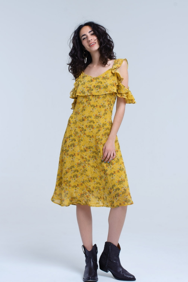 Yellow midi dress with frill details in floral print