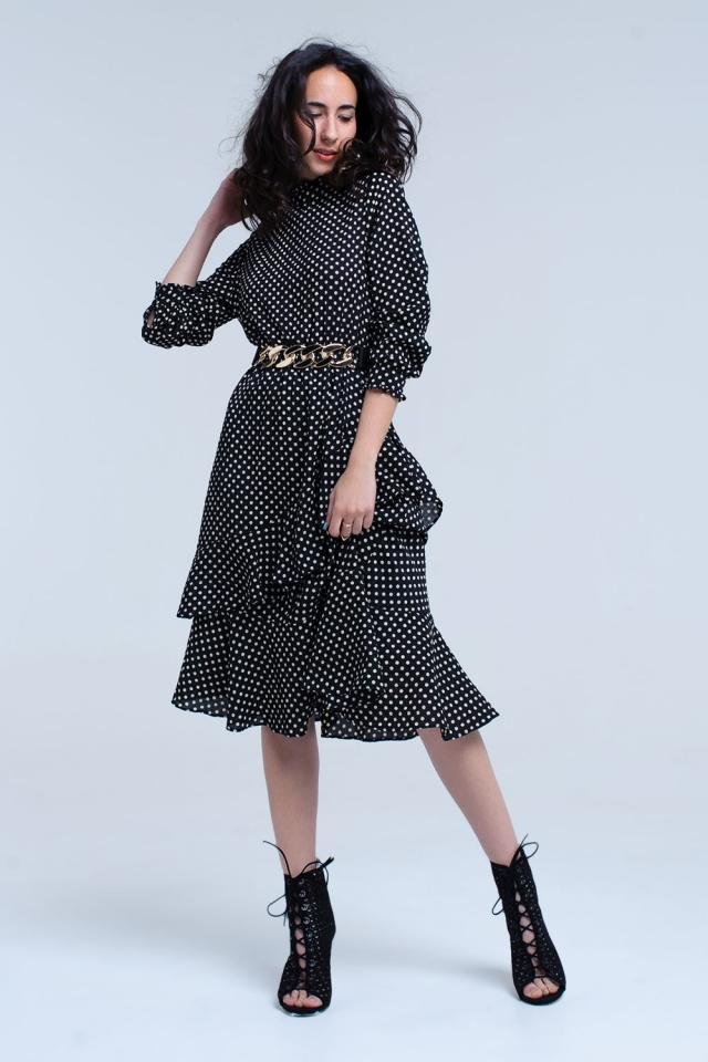 Black midi dress with polka dots and ruffles