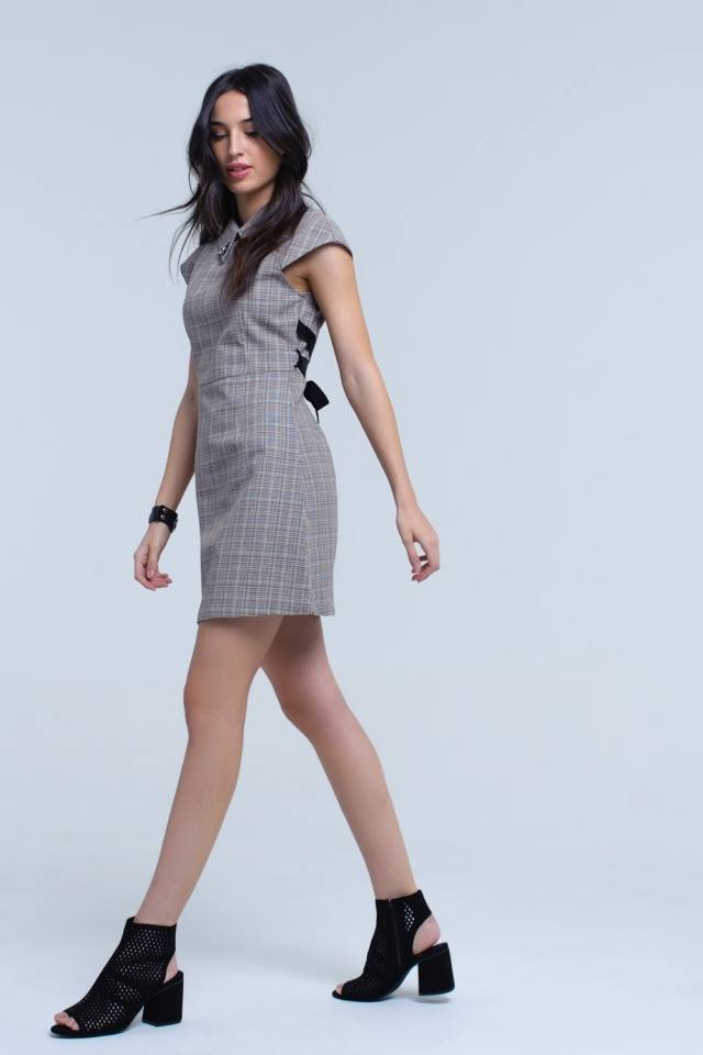 Brown skater dress in Prince of Wales fabric