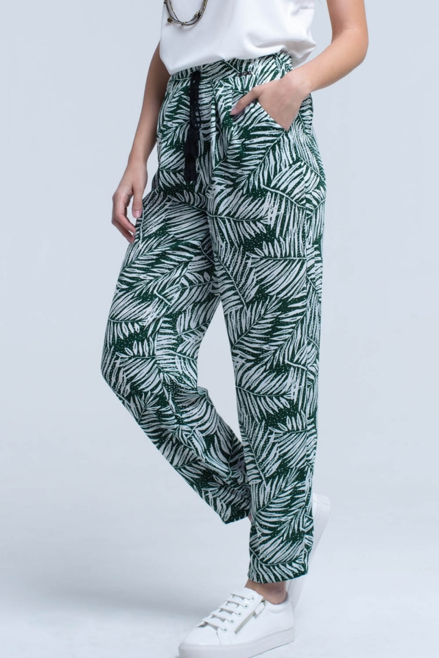 Green pants with leaf print