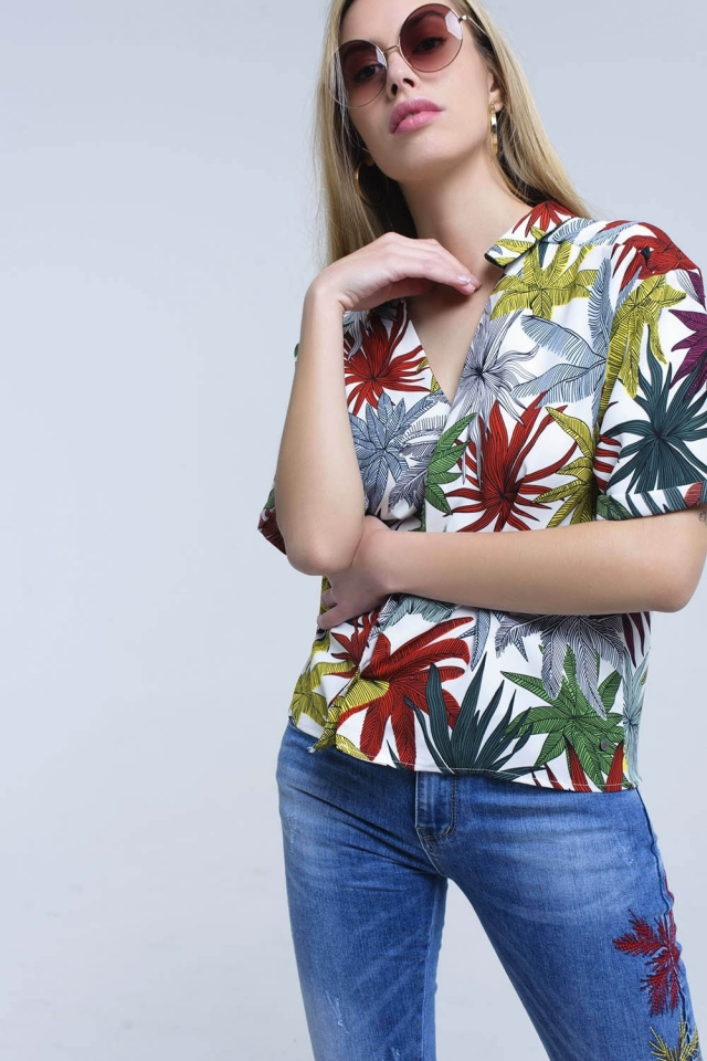 White shirt with leaves print