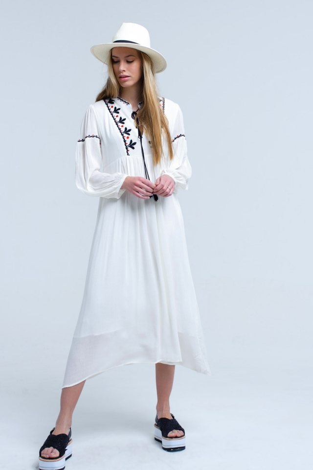 White dress long sleeve with black embroidery