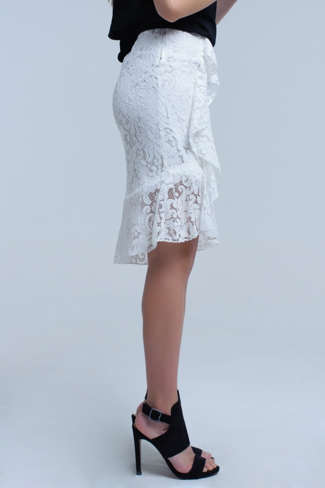 White lace and ruffle midi skirt