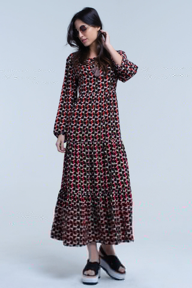 Black maxi dress in multi geo print