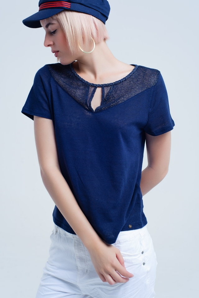 Navy blue t-shirt with mesh detail