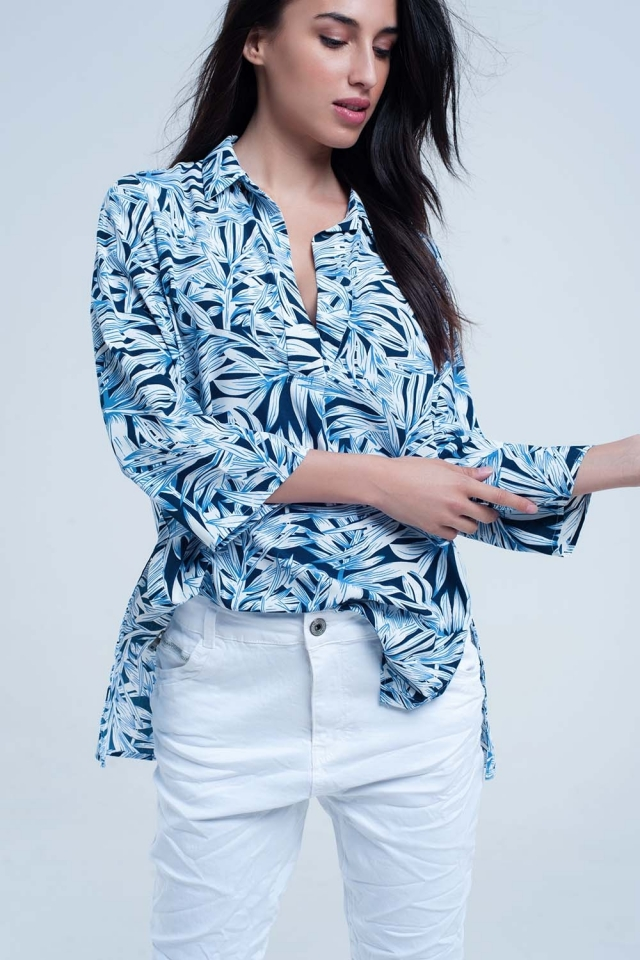 Blue shirt with leaf print