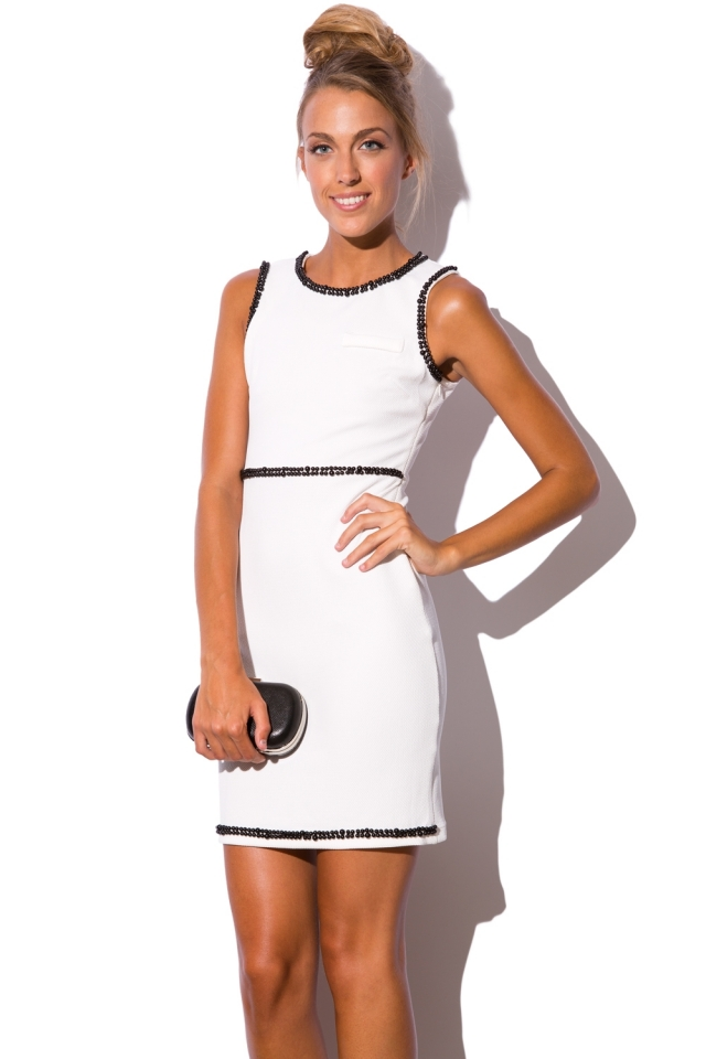 White dress with ornamented beads