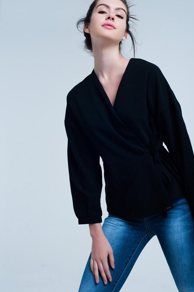 Black shirt with crossed tie