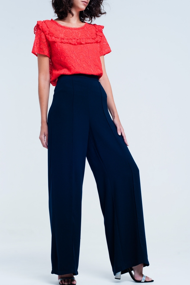 wide pants navy