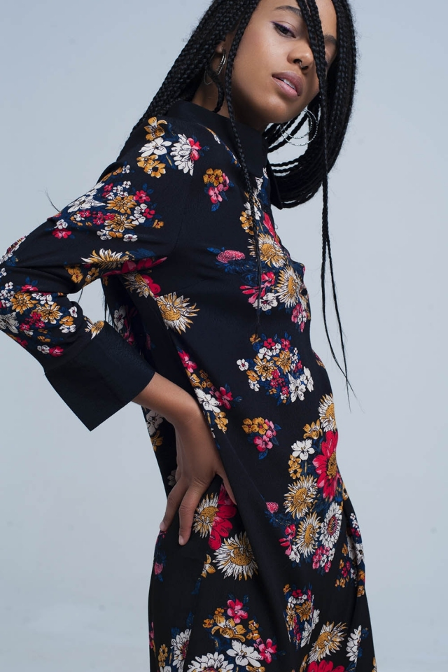 Black shirt dress with printed flowers