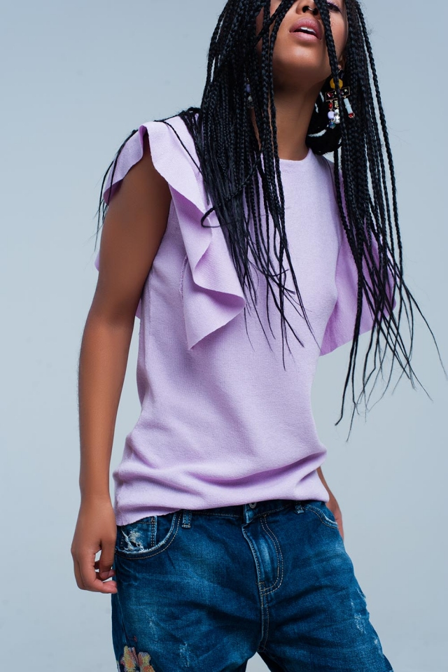 purple Sweater with Ruffle Detail