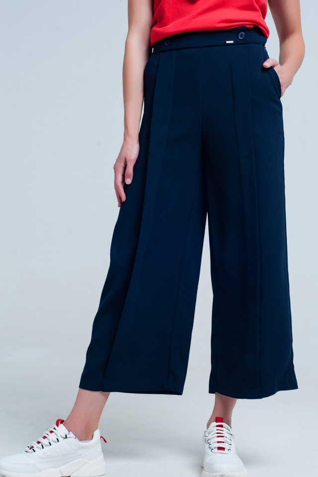 Navy trouser wide leg