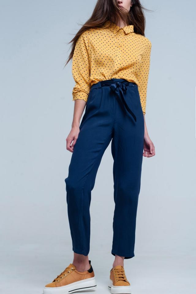 Navy blue slim fit  pants with satin belt