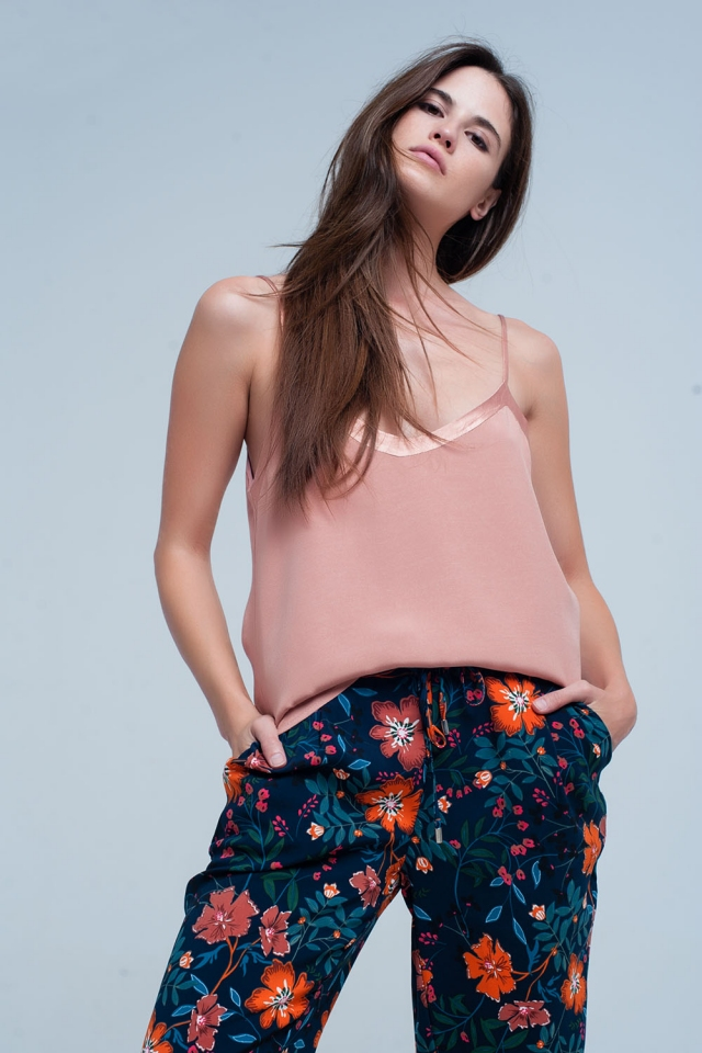 Pink cami top with shiny pattern