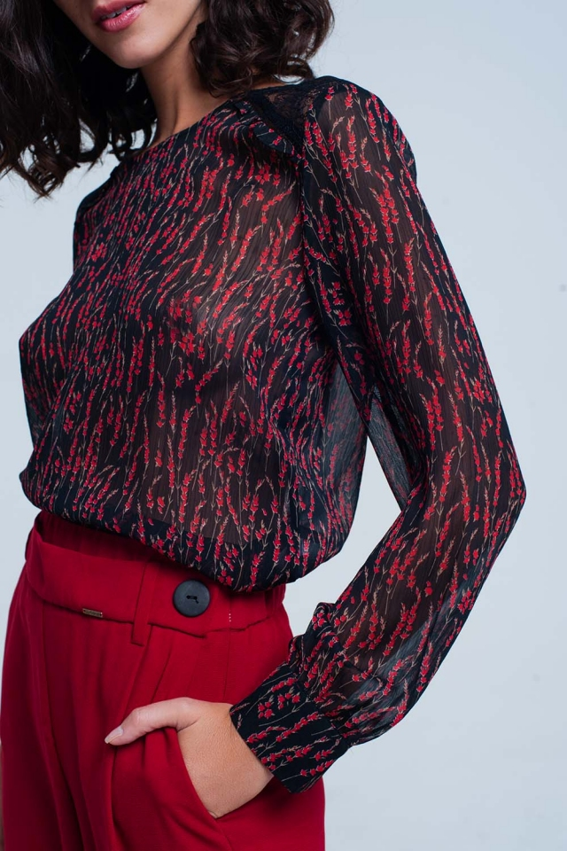 Red floral print chiffon top