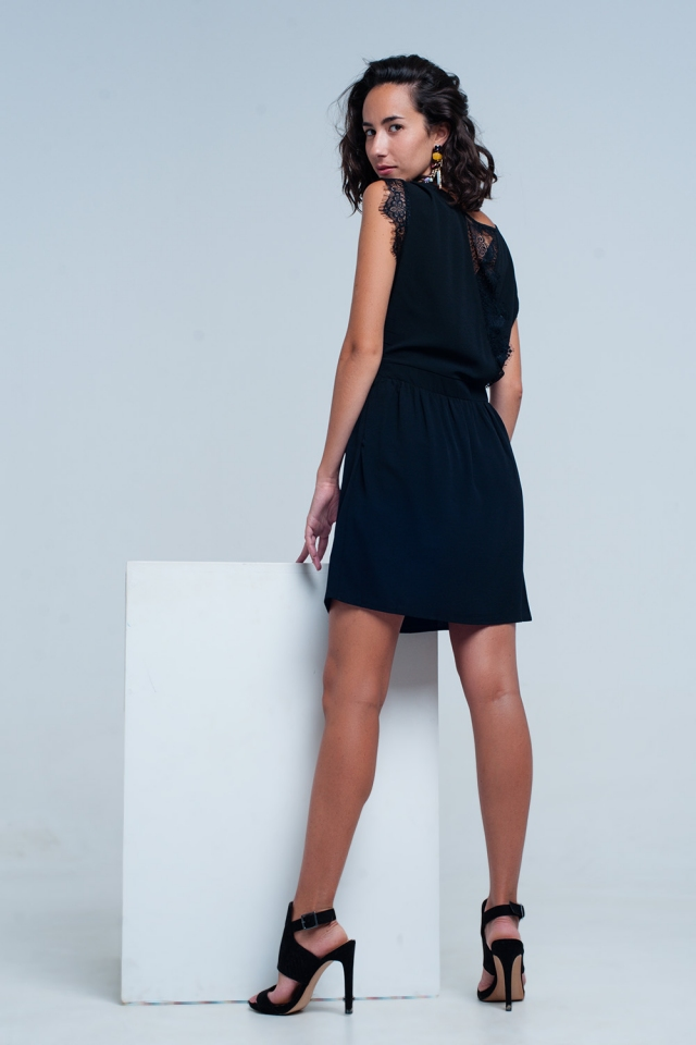 Black Open Back Dress With Lace Insert