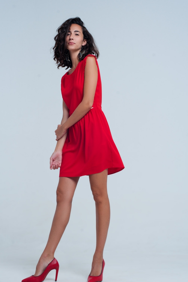 Red Open Back Dress With Lace Insert