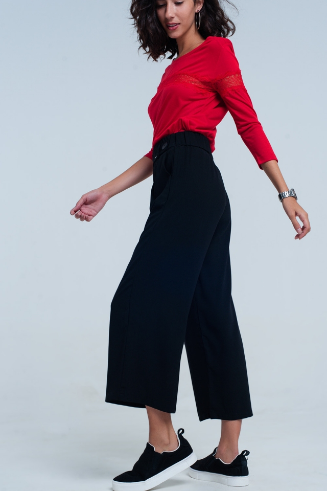 Black wide leg culottes with belt detail