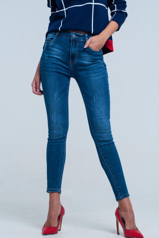 high waist skinny jeans in deep blue wash