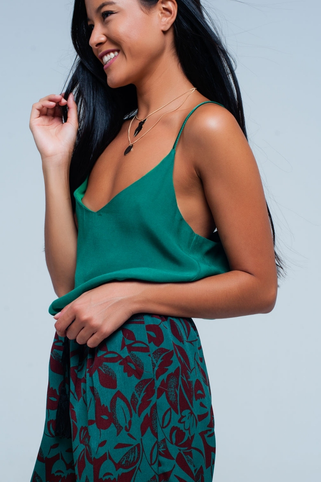 Green cami top with straps satin