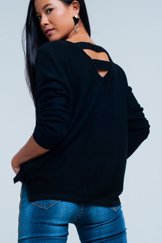 Black sweater with straps on the back