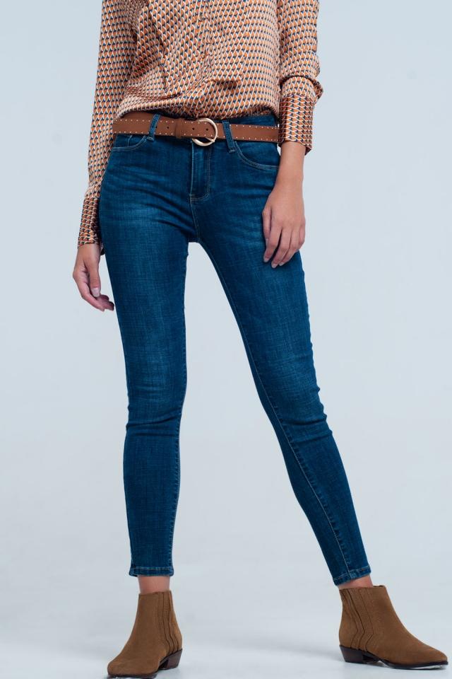 Dark Blue Jeans push up effect