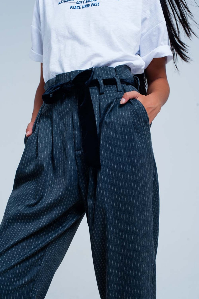 Grey high waisted striped pants
