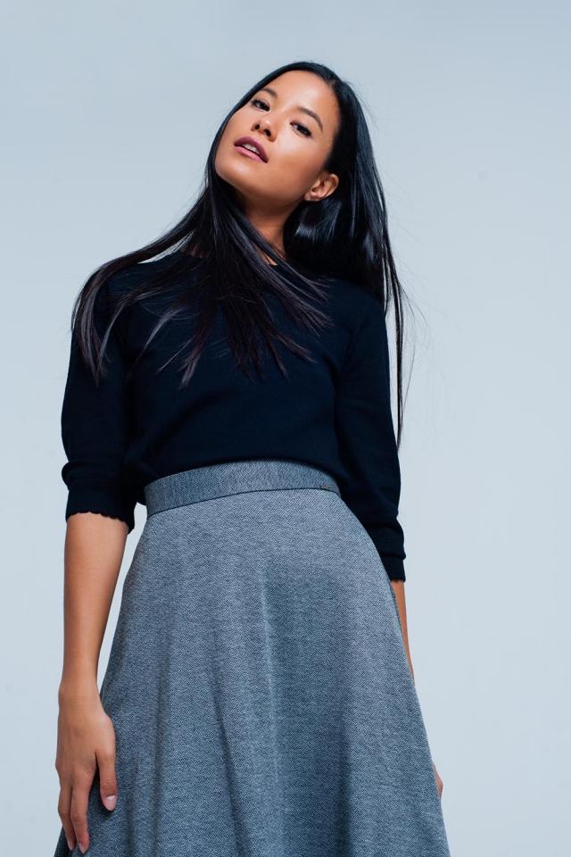 Black fine knit sweater 3/4 sleeve