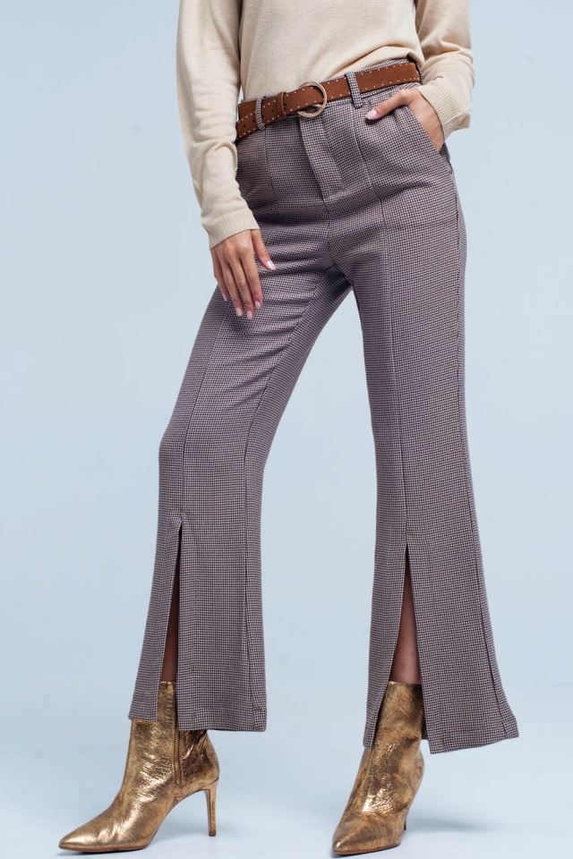 Beige checkered flare pants