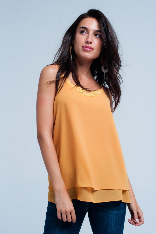 Mustard cami top with lace insert