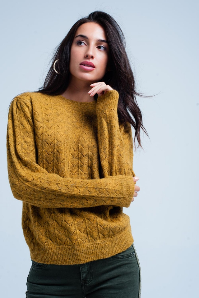 Mustard knitted sweater with crew neck