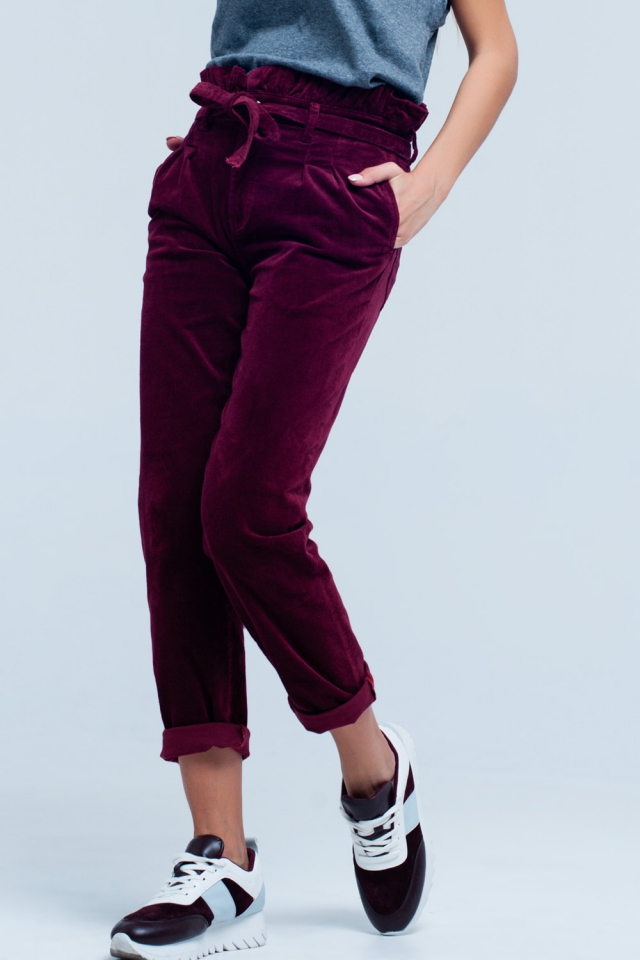 Maroon high waisted paperbag pants with belt