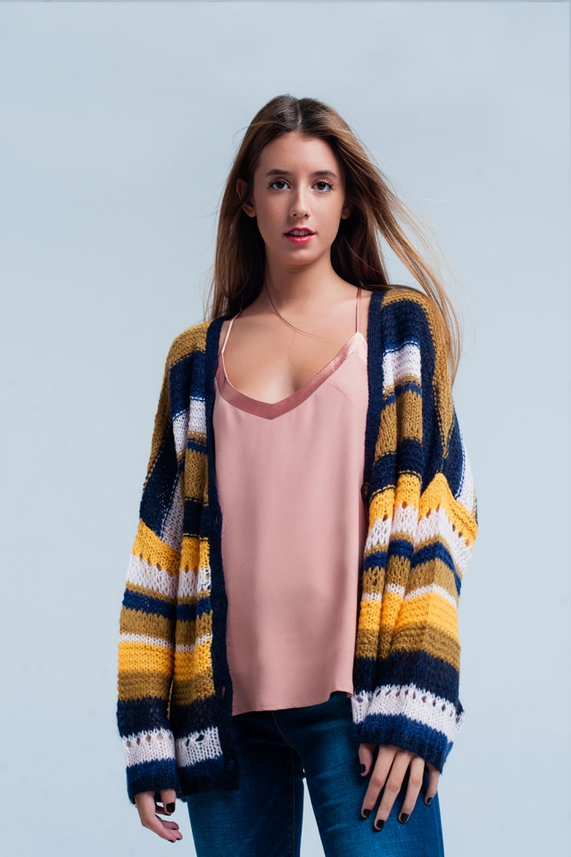 Mustard Chunky Knit Cardigan stripes